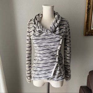 Anthropologie Asymmetrical Button Striped Cardigan